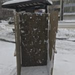 青森市文化会館前にて雪像制作中